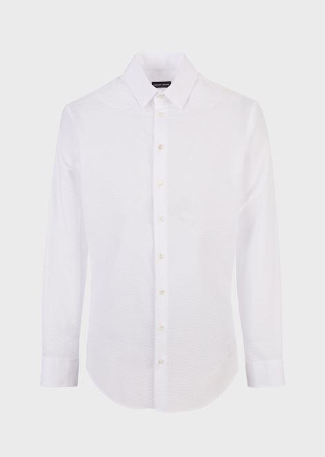 Рубашка прямого кроя из ткани сирсакер