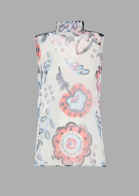 High neck crepe top printed with flowers and velvet badges