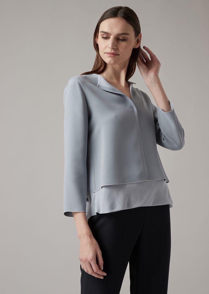 979f1b4c51 Cady shirt with tonal georgette hem