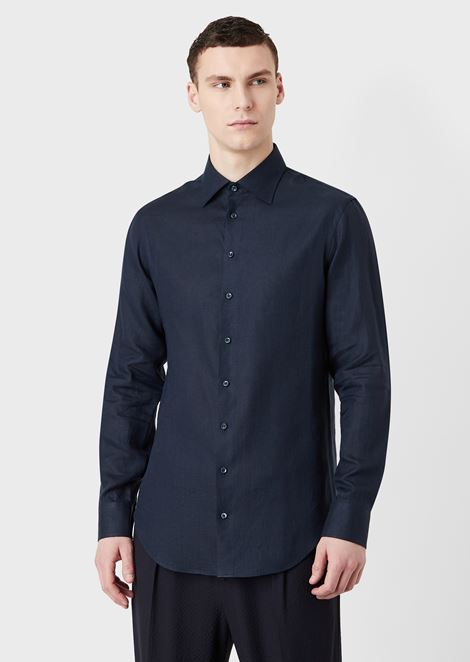 Regular-fit shirt in plain-coloured linen with guru collar