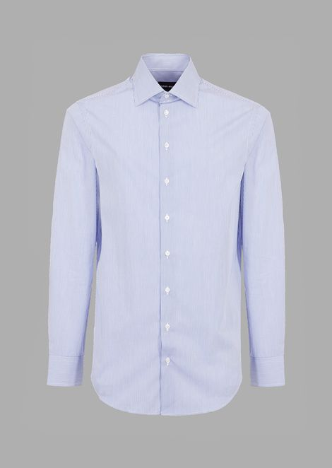 Regular-fit cotton shirt with finely striped pattern