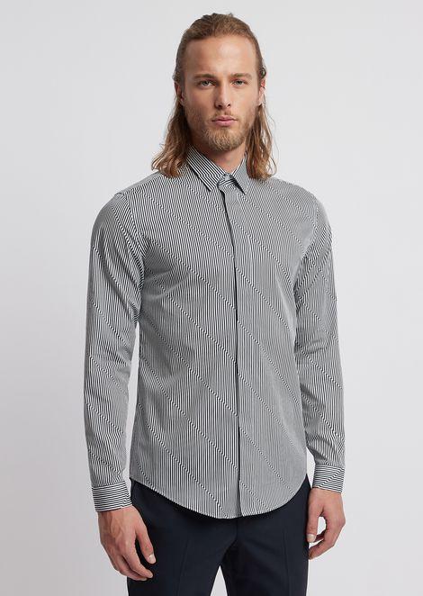 Shirt in printed poplin with diagonal stripes