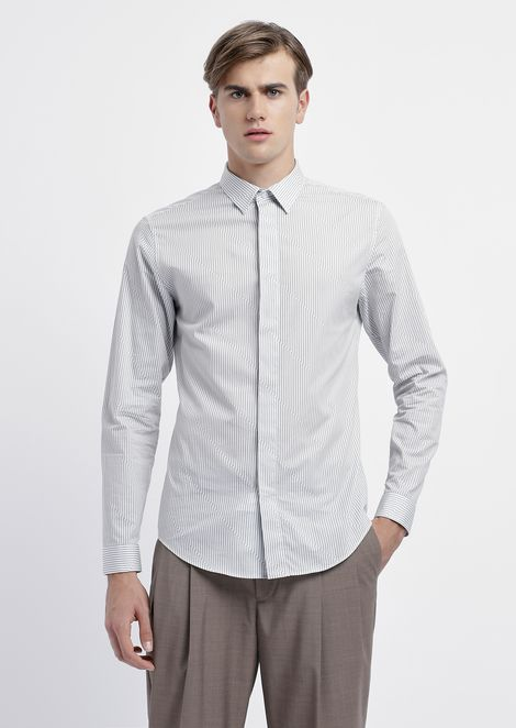 Shirt in printed poplin with diagonal stripes