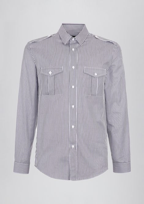 Shirt in striped cotton with appliqué pockets