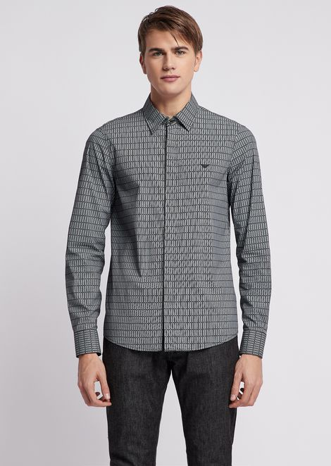 Shirt with detachable collar in solid poplin with all-over logo