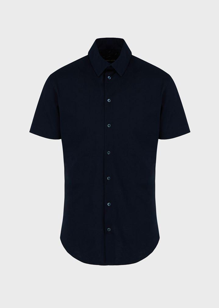 new concept 84ad1 60abe Camicia slim fit a maniche corte in jersey unito