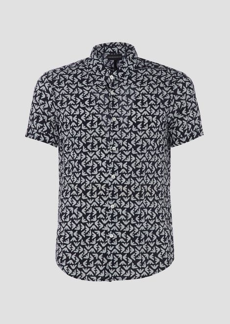 Short-sleeved shirt with all-over printed logo