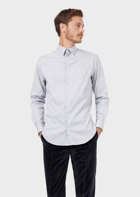 Classic slim-fit shirt made of exclusive micro-textured stretch fabric