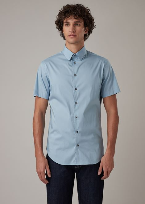 Short-sleeved, slim fit shirt in plain-coloured jersey