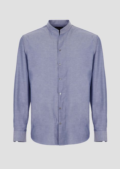 Pure cotton shirt with mandarin collar