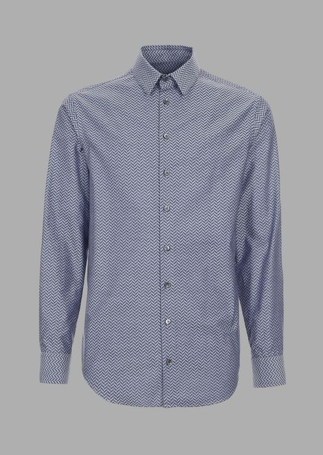 Herringbone jacquard shirt with chevron motif