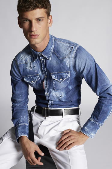 DSQUARED2 Denim shirt Man S71DM0291S30341470 m