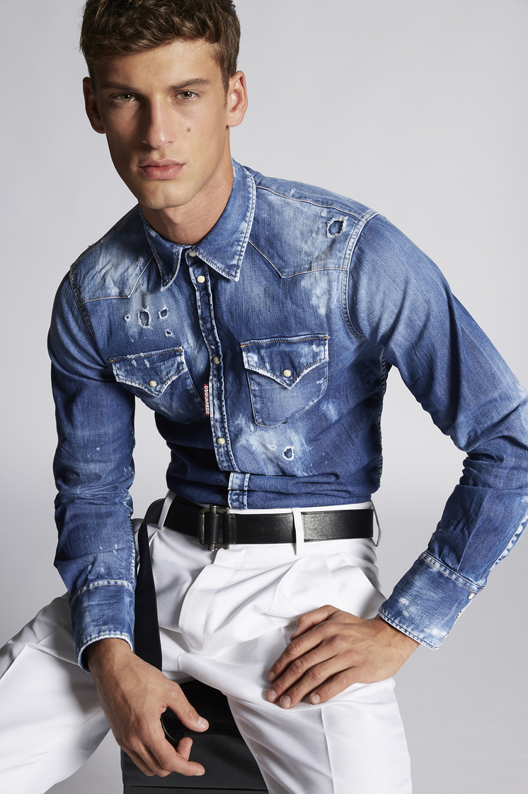 DSQUARED2 Classic Western Denim Shirt Shirt Man
