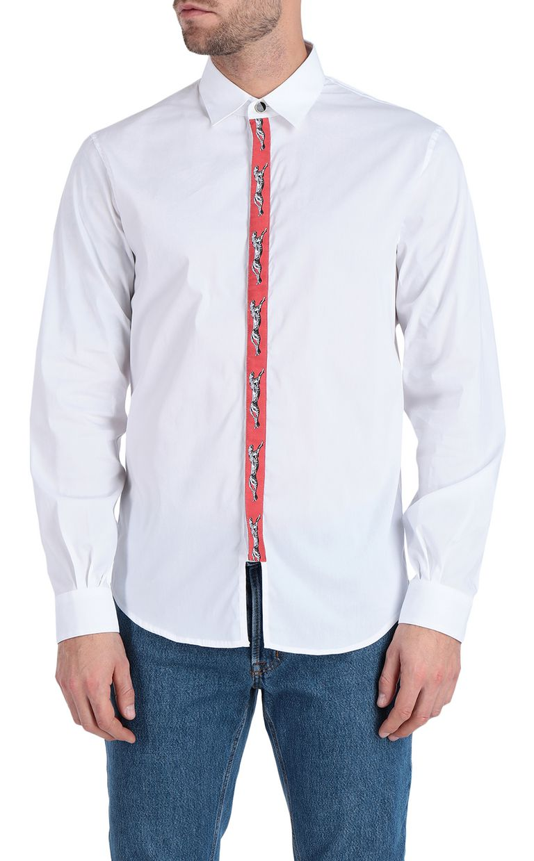JUST CAVALLI White shirt with cheetah-print band Long sleeve shirt Man f
