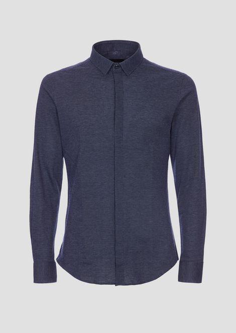 Chemise en jersey ouvragé avec boutons cachés