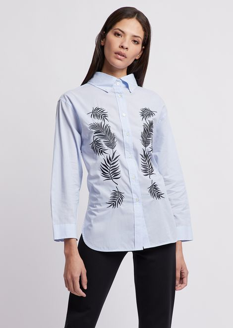 Poplin shirt with maxi collar and foliage embroidery