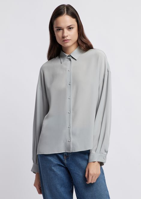 Satin crepe shirt with wide sleeves