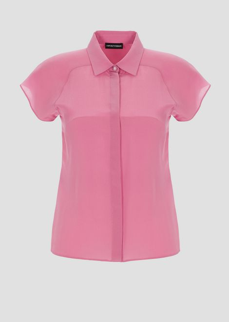 Silk crêpe shirt with short capped sleeves