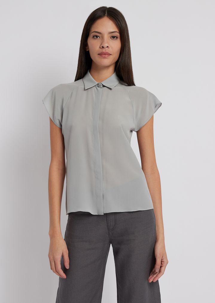 new concept cbac2 32af4 Camicia in crepe di seta con maniche corte ad aletta | Donna ...