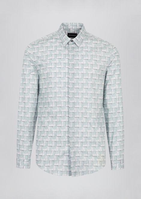 Printed cotton shirt with Italian spread collar