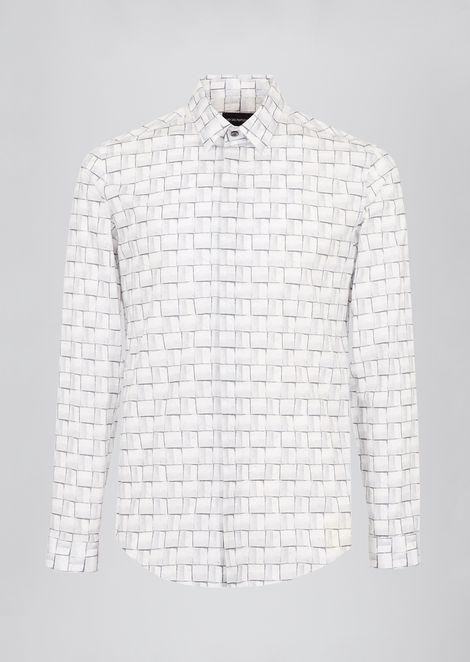Camicia in cotone stampato con collo italiano