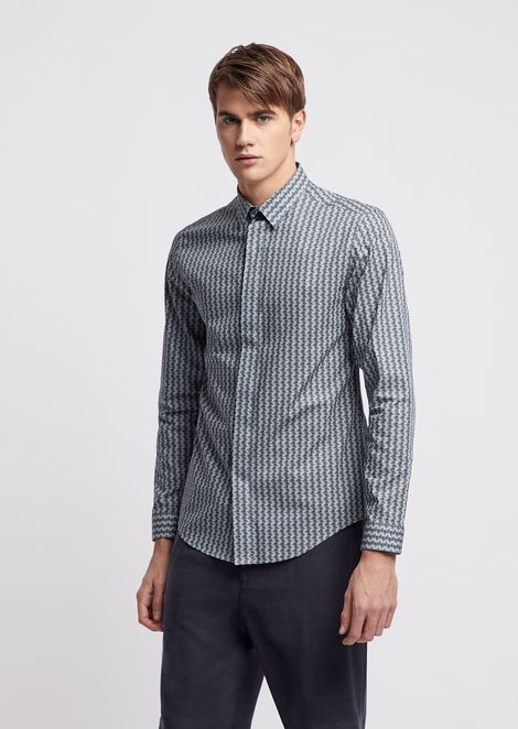 Slim fit shirt in printed cotton with optical effect