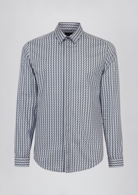 Camicia slim fit in cotone stampato a effetto optical