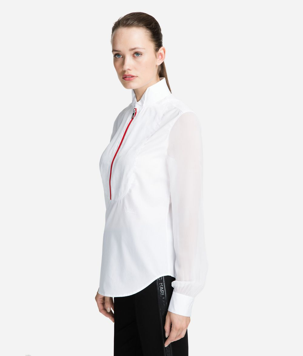 KARL LAGERFELD Cotton Plastron Shirt Blouse Woman d
