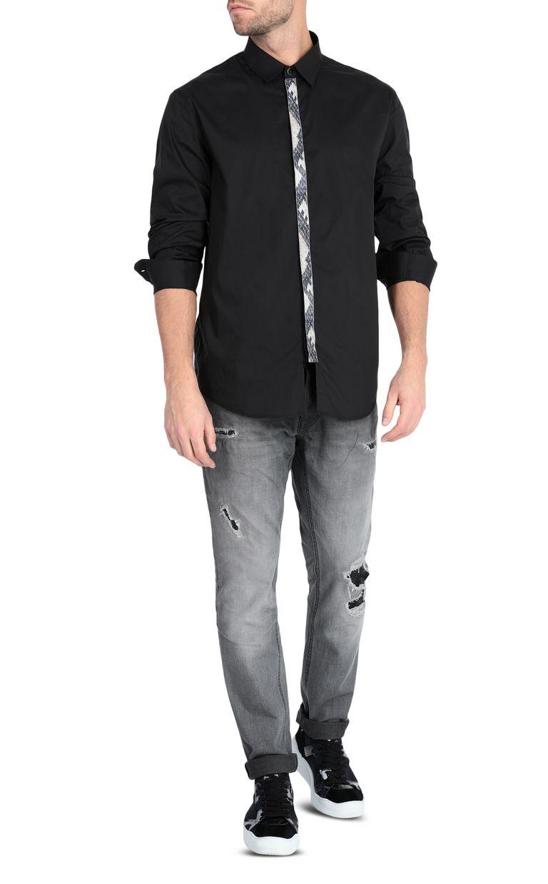 JUST CAVALLI Black shirt with python-print band Long sleeve shirt Man d