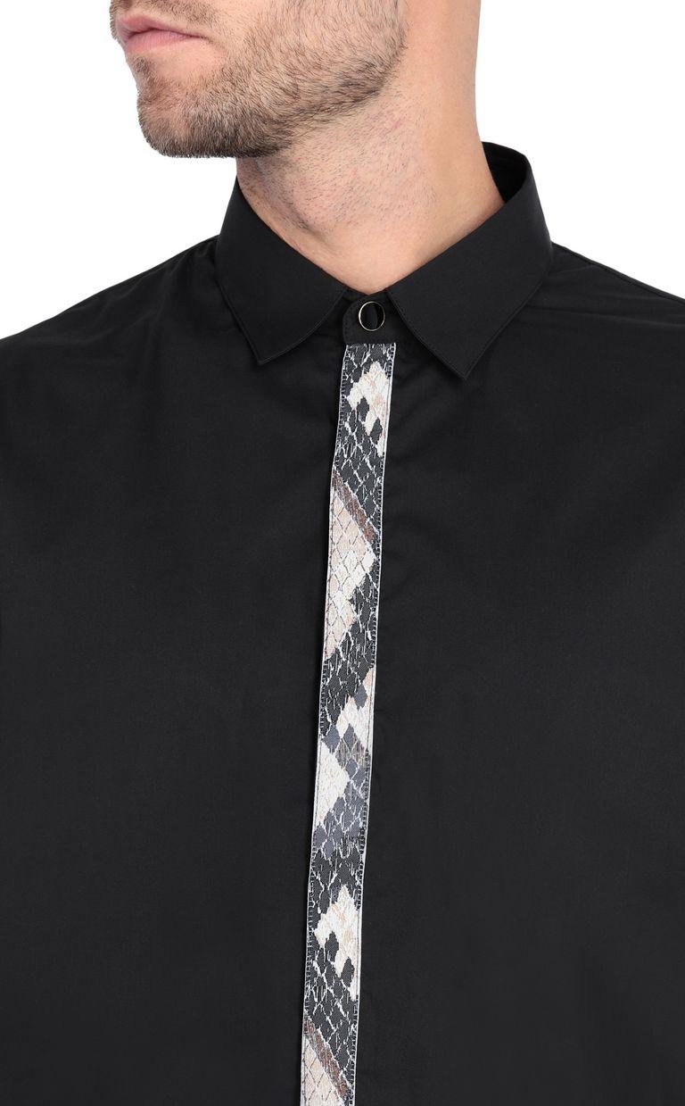 JUST CAVALLI Black shirt with python-print band Long sleeve shirt Man e