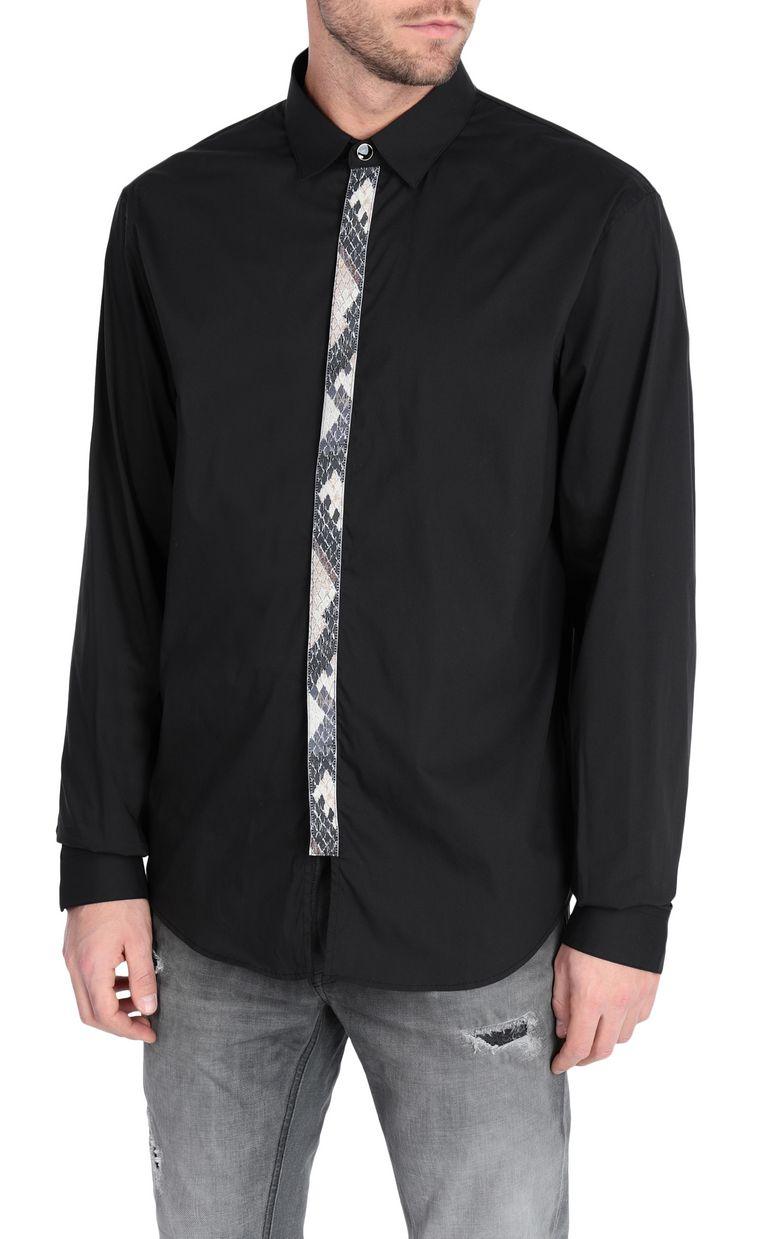 JUST CAVALLI Black shirt with python-print band Long sleeve shirt Man f