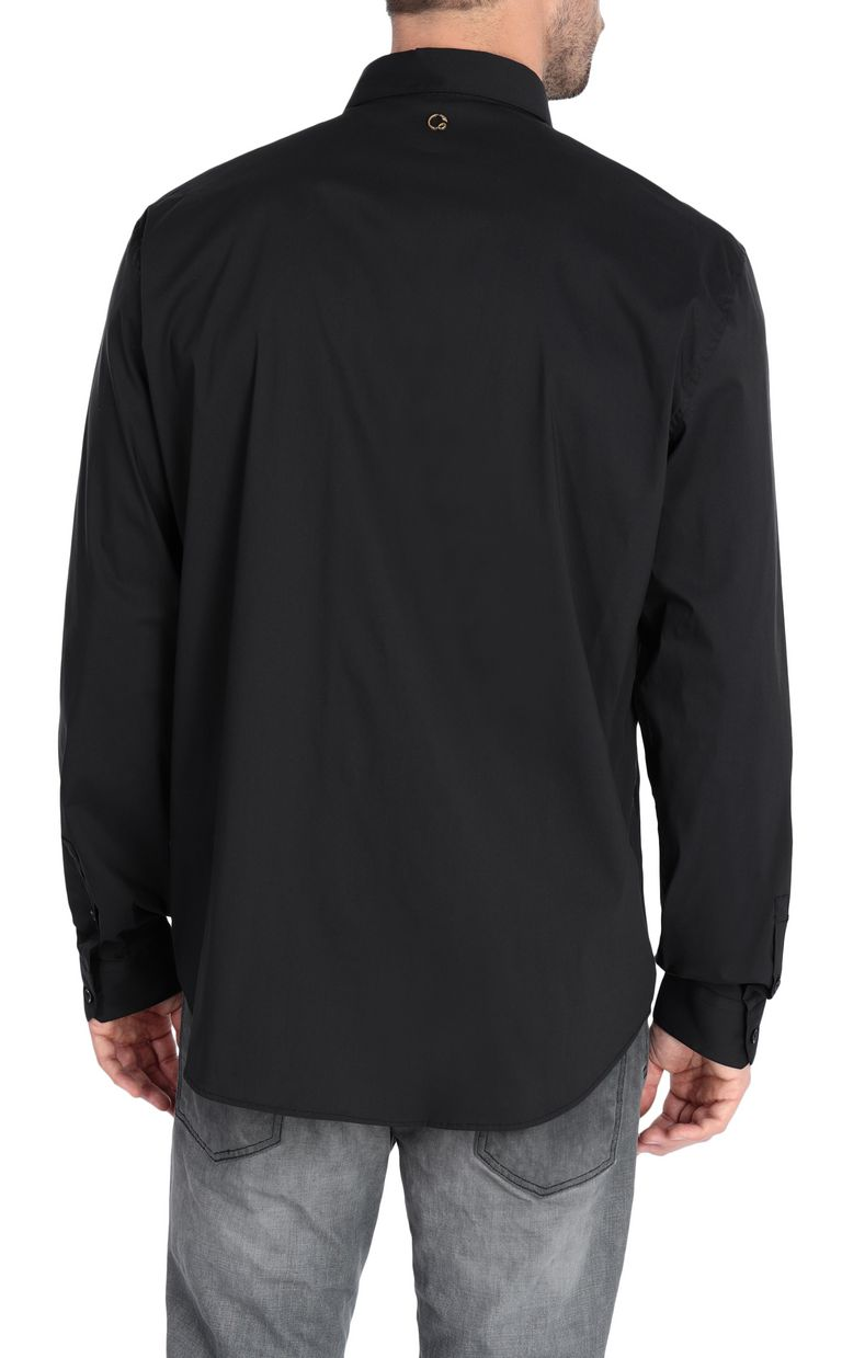 JUST CAVALLI Black shirt with python-print band Long sleeve shirt Man r