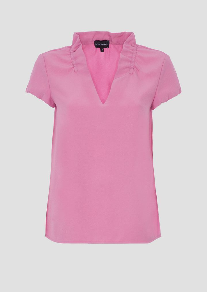 afd5d2a06a Poly crepe short-sleeved top with rouches on the collar.