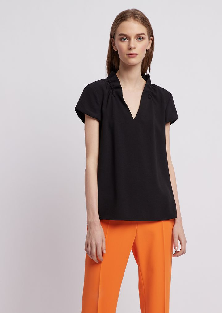 9453a6222d Poly crepe short-sleeved top with ruches on the collar