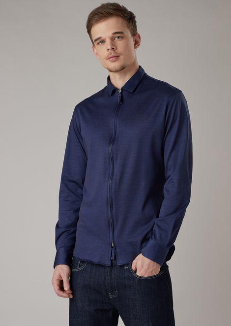 Рубашка облегающего кроя из платированного джерси