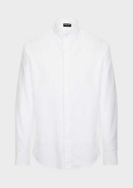 Slim-fit shirt in fabric with exclusive all-over logo