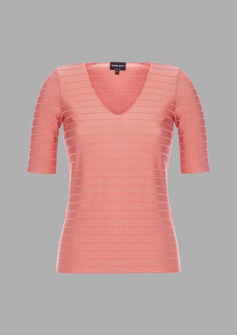 Shiny ribbed viscose sweater with horizontal stripe