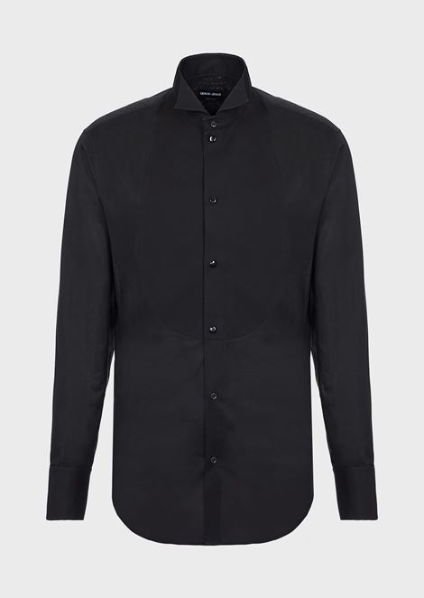 Regular-fit tuxedo shirt in voile with plastron in honeycomb fabric