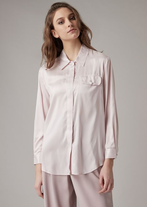 Striped silk shirt with side pocket