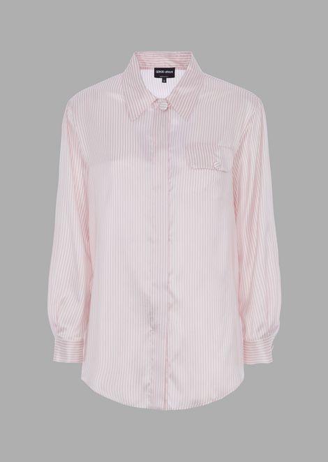 Camicia in seta a righe con tasca laterale