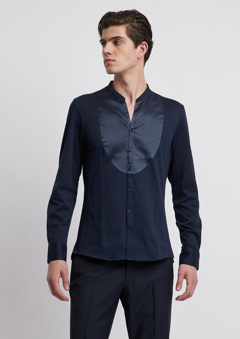 Textured jersey shirt with tone-on-tone silk plastron