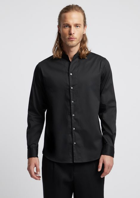 Рубашка из саржи с воротником-стойкой