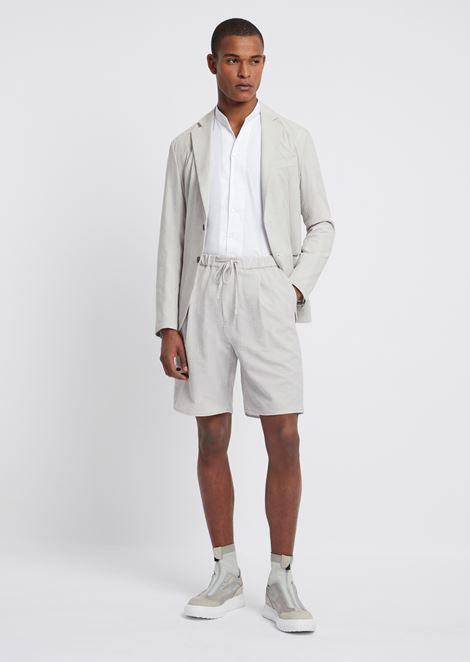 Twill cotton shirt with mandarin collar