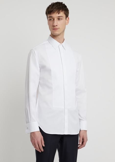 Shirt in cotton piqué with plastron and collar with stays