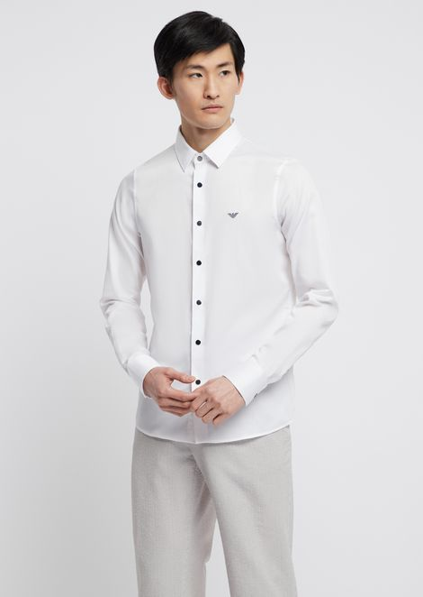 Shirt in glazed cotton with removable collar
