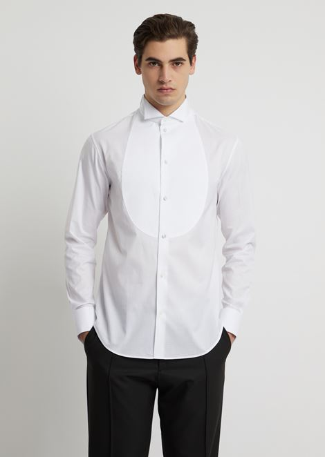 Cotton piqué shirt with bib front and wing collar