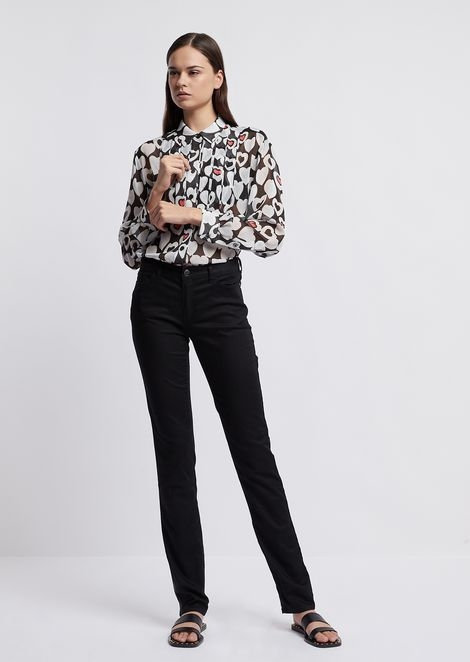 Creponne shirt with all-over heart pattern