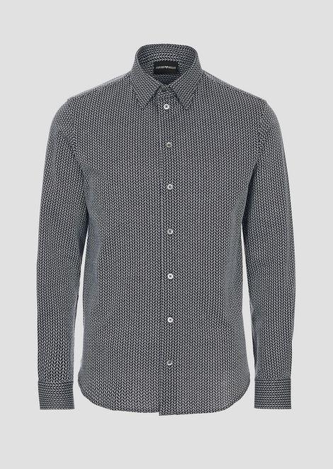 Modern-fit textured jersey shirt