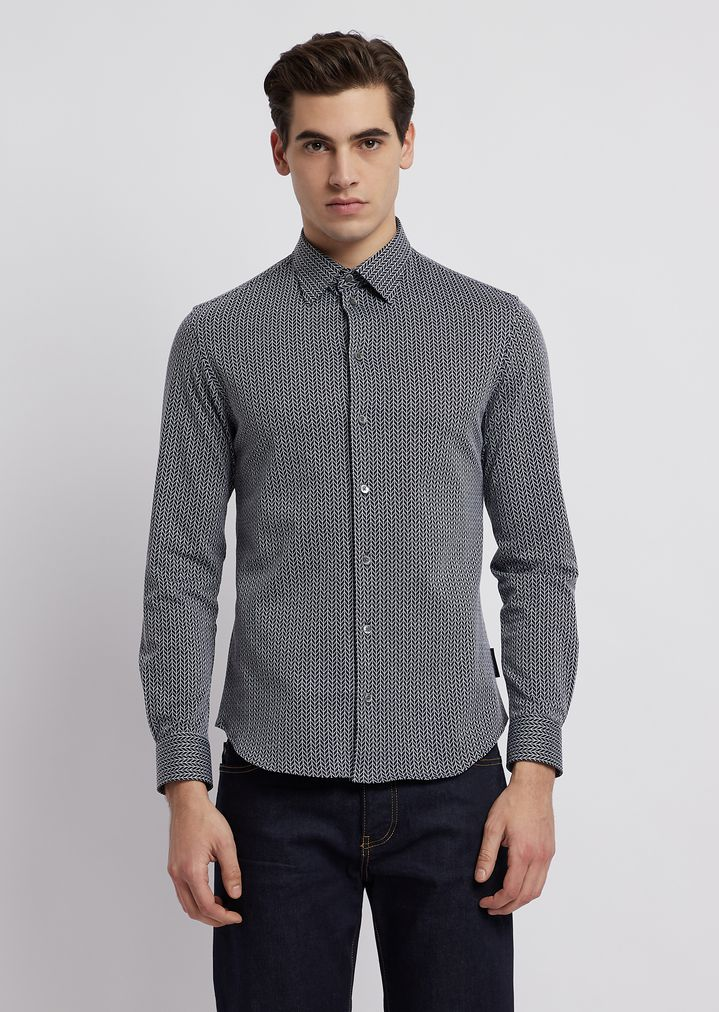 f11c64198f Modern-fit textured jersey shirt