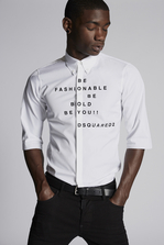 DSQUARED2 Poplin Sexy Roll Up Shirt With Print On Front Shirt Man